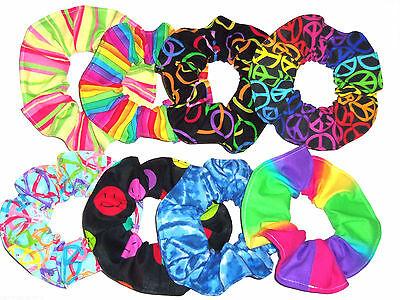 Hair Scrunchie Rainbow Neon Peace Signs Ponytail Holder Tie Scrunchies by Sherry
