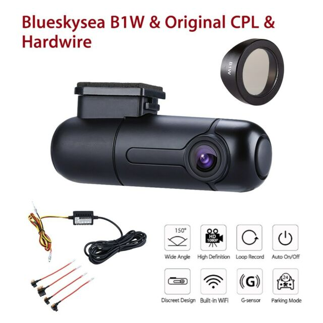 Blueskysea B1W Wi-Fi Car Dash Camera Loop Recording & CPL Filter + Hardwire Kit