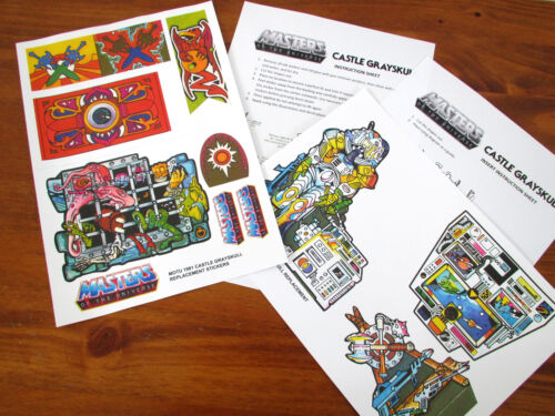 MOTU Masters of the Universe replacement stickers decals for CASTLE GRAYSKULL