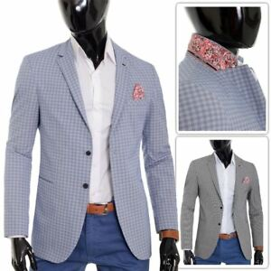 Mens-Checkered-Blazer-Jacket-Formal-Blue-Brown-Paisley-Finish-Cotton-Regular-Fit
