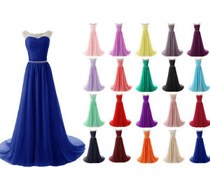 Plus Size 2-26W Chiffon Bridesmaid Dresses Formal Long Evening Party Prom Gown