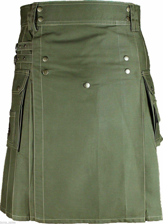 New Stylish Men Handmade Olive Green Deluxe Utility Cargo Sport Kilt 100% Cotton