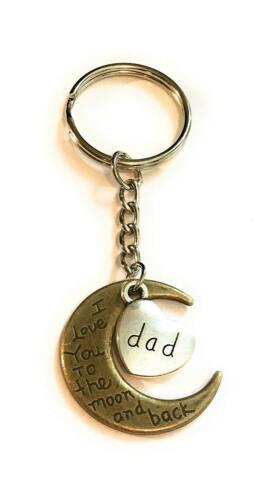 Dad I love you to the moon and back bronze and silver tone keyring key ring