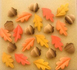 24-Edible-Sugar-Autumn-Leaves-amp-Acorns-Cupcake-Toppers-Decorations-Fall-Cake