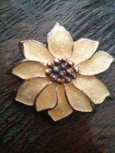 #Vintage Yellow Poinsettia Pin Brooch Pendant