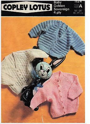 """Copley 1124 Vintage Baby Knitting Pattern Repro 4 ply 18/"""" 20/"""" Cardigans"""