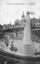 Postkaart - Brussel - Expo 1910 - Fontein en waterpartij