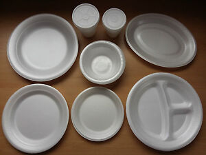 Image is loading Foam-Polystyrene-Cups-Plates-Bowls-Disposable-Hot-Cold- & Foam Polystyrene Cups Plates Bowls Disposable Hot Cold Food Drinks ...