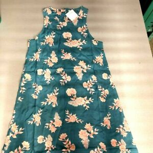 Roxy-Girls-Better-Day-Tank-Dress-Teal-Beige-Coral-Floral-Buttons-Crew-Neck-14-XL