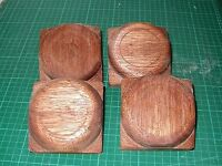 """4 x Fence Post caps - Hardwood - Button tops for 3"""" fence or decking posts"""