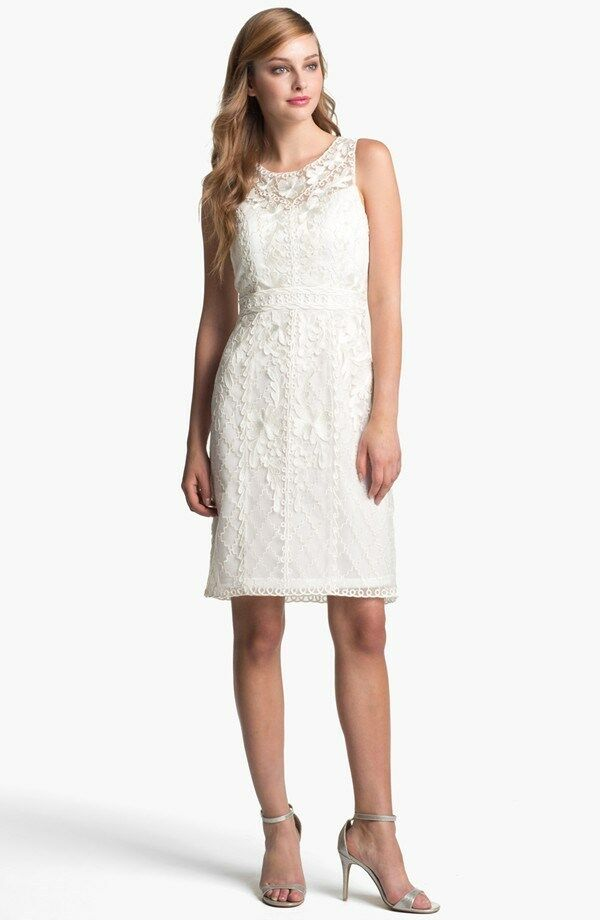Sue Wong Embroidered Lace & Tulle Sheath Dress( Size 0)