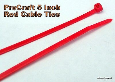 """100 Pcs. ProCraft 5"""" Red Nylon Cable Ties 18# T.S.(Model PCT-5RED-18)"""