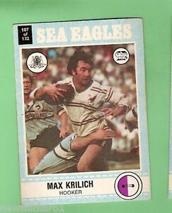 1977-SCANLENS-RUGBY-LEAGUE-CARD-107-MAX-KRILICH-MANLY-SEA-EAGLES
