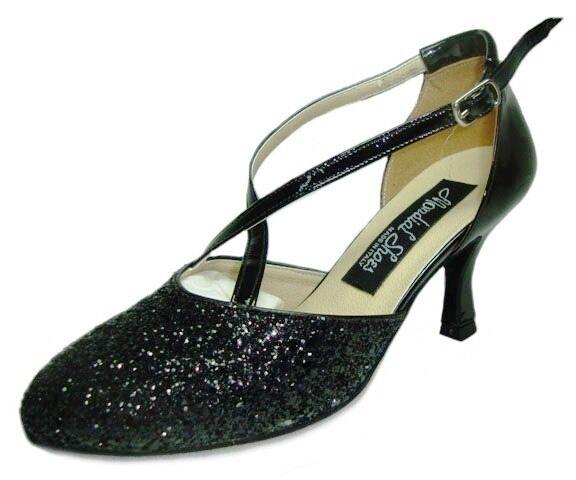 HORUS 202 scarpe alto da ballo donna tacco alto scarpe 70/R nere basse lucide brillantini 79de35