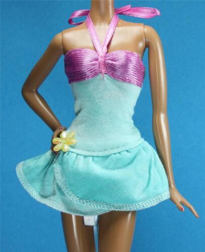 Sparkle Girlz Pink Teal Blue Yellow Flower Skirt Dress fits Barbie Liv Doll