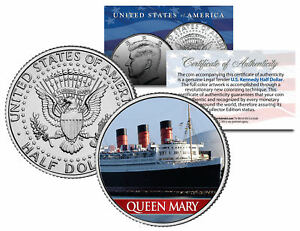 RMS-QUEEN-MARY-Ocean-Liner-Colorized-JFK-Kennedy-Half-Dollar-US-Coin-Collectible