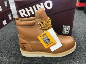 Rhino-62T06-Mens-Leather-Butternut-6-034-Soft-Toe-Moc-Toe-Lace-Up-Work-Boots