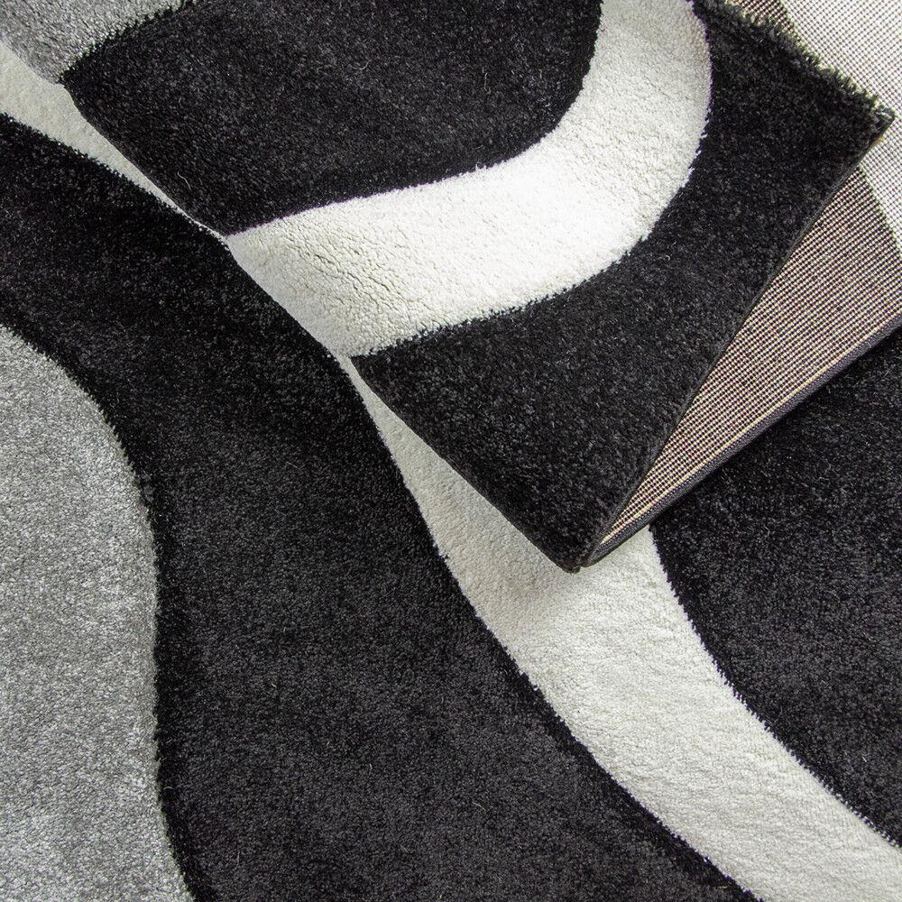 Moderne Doux Tapis Noir Blanc Gris Motif Contour Contour Contour Coupe Tapis Small X Large | Une Forte Résistance à Chaleur Et Résistant  2a9f25