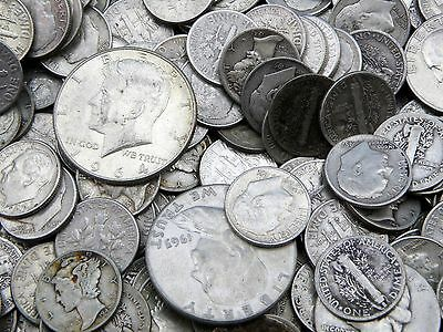 NO NICKELS-GOOD COINS-GREAT JUNK HUGE COLLECTION 1//2 TROY OZ  ALL 90/% SILVER