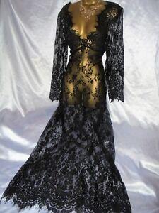 Copieux Superbe Vintage Noir Transparent Dentelle Nuisette Robe Slip Negligee 42 Tcsps 62 Long-afficher Le Titre D'origine