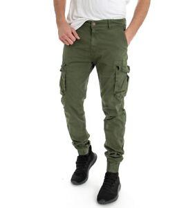 Pantalone-Verde-Uomo-Modello-Cargo-Tasca-America-Tinta-Unita-Cavallo-Basso-Ca