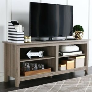 We Furniture 58 Wood Tv Stand Storage Console Driftwood Durable