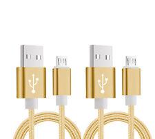 2 x  NYLON MICRO USB LADE KABEL DATENKABEL FÜR SAMSUNG HTC LG MOTOROLA GOLD 1.5M