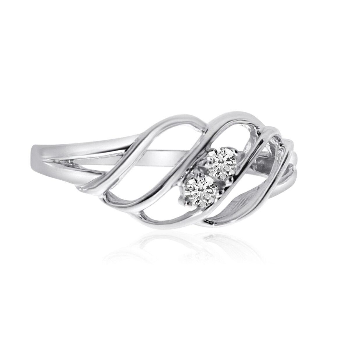 14K White gold Woven Two-Stone Diamond Ring