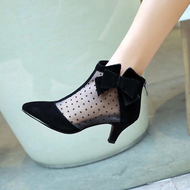 Sweet donna Pointy Toe Mesh Mid Block Heel Bowknot Ankle avvio scarpe Fall Casaul