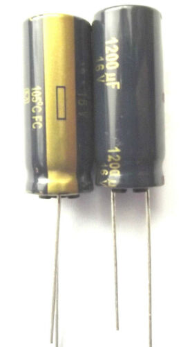 1200uF 16V 105c basso ESR dimensioni 10mmx25mm Panasonic eeufc1c122 x2pcs