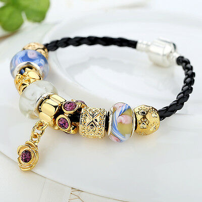 New Asian Luxury Charms Leather Rope Bracelets For Women With Murano Glasses DIY