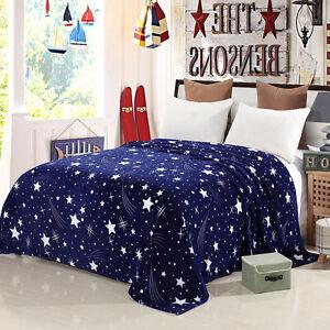 Blue Star Sky Soft Microplush Throw Blanket Rug Plush Fleece Sofa Bed Decor