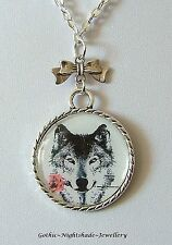 Wolf & Red Rose Picture Dome Pendant Necklace