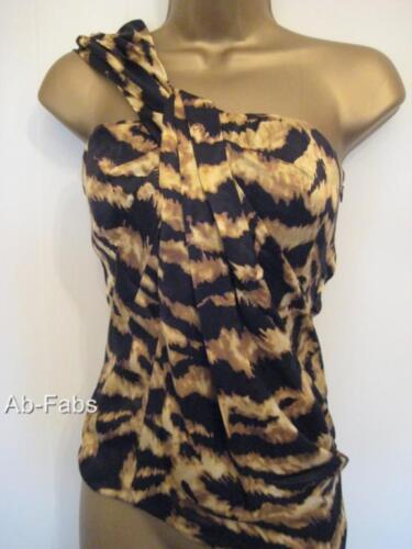 Millen Animal Womens One Karen 34 Sz Black Blouse Top 6 Print Gold Shoulder Silk f165xFn