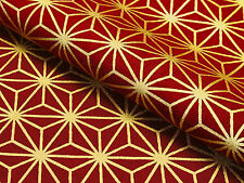 Japanese Fabric_Cotton_Red,Gold,Asanoha_Half Yard,#m038