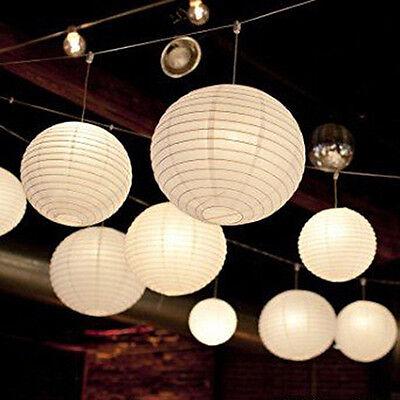 "UK Seller 5 x White Chinese Paper Hanging Wedding Party Lampshades Lanterns 8"""
