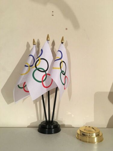 OLYMPIC TABLE FLAG SET of 3 flags and base