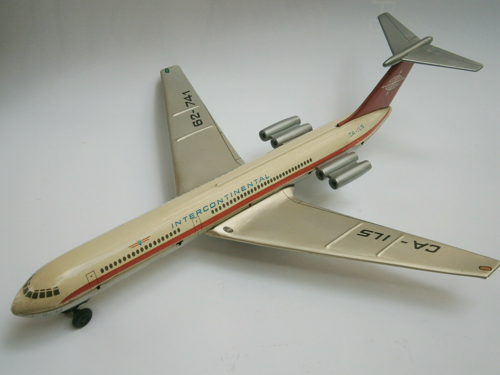 Vintage mécanisme URSS TIN FRICTION toy avion IL-62 Avion Intercontinental