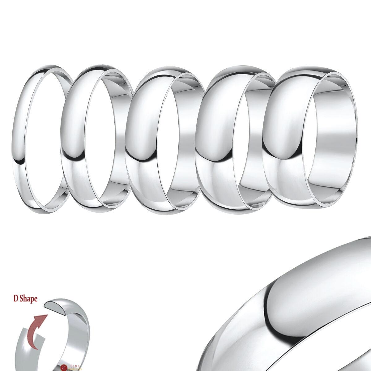 9ct Anello gold bianco forma a D MEDIO PESANTE Anello di matrimonio (