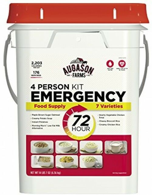 Emergency Food Supply MRE Suvival Kit 4 Person 3 Day 176 Servings Augason Farms