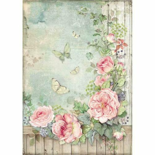 Papel de arroz-motivo strohseide-a4-Stamperia-Roses garden with Fence-Rose-dfsa 4450