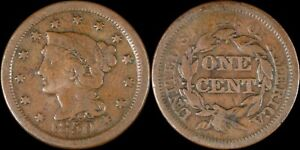 1850 Large Cent Braided Hair Old US Type Coin Copper 1800's Penny KM# 67