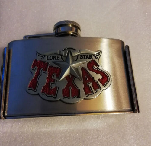 HIP FLASK BELT BUCKLE TEXAS LONESTAR with REMOVABLE HIP FLASK STAINLESS STEEL