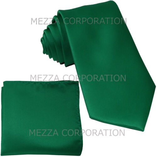 New formal men/'s necktie /& hankie set solid color polyester party emerald green