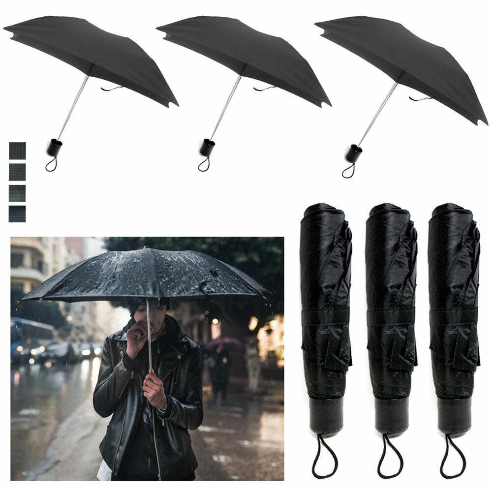 3 Packung Mini Faltbarer Schirm Reise Automatisch Kompakt Regen Windfest Offen