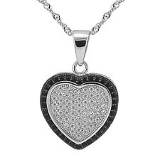 """Sterling Silver Heart Pendant, Black and Clear CZ Heart, 17.5"""" Extension Chain"""