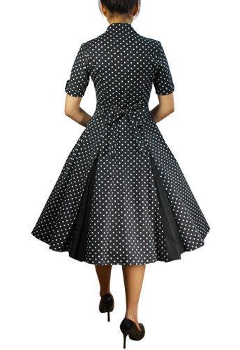 Schwarz mit Weiß Gepunktet Swing Kleid Retro Vintage 50s 50s 50s Jahre Style Pin Up | ein guter Ruf in der Welt  | Moderater Preis  b97280