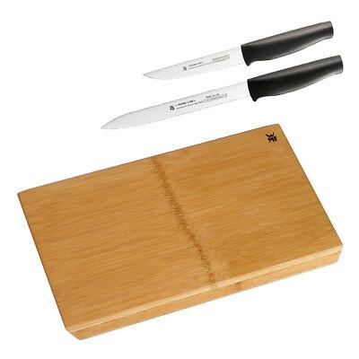 WMF Bambus-Schneidebrett + 2x WMF Trend Line Küchenmesser Messer Kochmesser