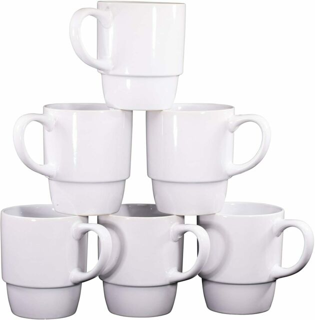 Bruntmor Ceramic Tea Coffee Cups Mugs Set of 6 Large sized Mugs 12 Ounce