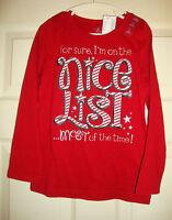 The/children's/placegirlsxmas/nice/list/long/sleeved/top (s5/6) N/w/tags
